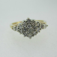 14k Yellow Gold Approx 1/3ct TW Diamond Cluster Ring Size 7
