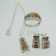 14k White Gold Emerald Cut Citrine and Diamond Earring Necklace and Ring Set Ring Size 8 1/2