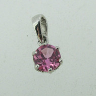10k White Gold Created Pink Sapphire Pendant