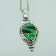 Sterling Silver Southwest Green Opal Black Onyx Inlay Necklace