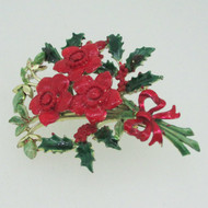 Vintage Gold Tone Exquisite Enamel Poinsettia Flower Brooch Pin