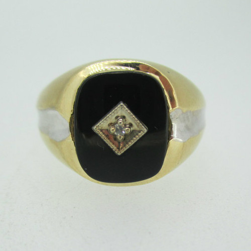 10k Yellow Gold Black Onyx and Diamond Men's Ring Size 10
