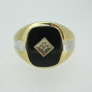 10k Yellow Gold Black Onyx and Diamond Men's Ring Size 10
