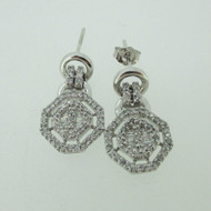 14k White Gold Approx 1.0ct TW Diamond Dangle Stud Earrings