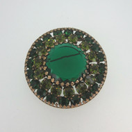 Vintage Gold Tone Weiss Round Pin Brooch with Prism Cut Created Green Stones