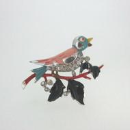 Vintage Trifari Silver Tone Enameled Rhinestone Pave Bird on Branch Pin Clip