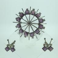 Vintage Jaykel Sterling Silver Ladies Purple Glass Stone Brooch & Earrings Set