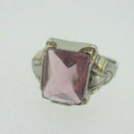 Vintage Sterling Silver Purple Stone Ring Size 8