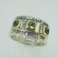 Sterling Silver & 14K Peridot Peace Inspirational Words Ring Size 8