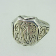 Sterling Silver & 10K Gold Accent Initial HK Ring Size 13.5