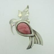 Sterling Silver Pink Rhodonite Hummingbird Pin Brooch