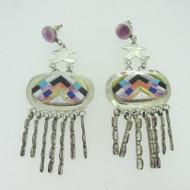 Sterling Silver Dangle Large Southwest Wampum Multi Stone Earrings