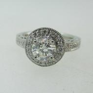 Platinum .85ct Round Brilliant Cut Diamond Ring with Diamond Halo Size 6 1/2