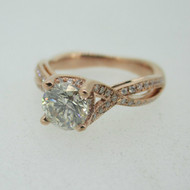 14k Rose Gold 1.0ct Round Brilliant Cut Diamond Ring with Diamond Twist Bands Ring Size 6 3/4