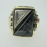 Vintage 10k Yellow Gold Hematite Intaglio Knight Cameo Ring with Diamond Accents Size 11
