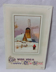 Happy New Year w/ Windmill Embossed Antique Postcard
