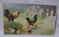 Easter Greetings Embossed Antique Postcard w/ Chicken & Chicks