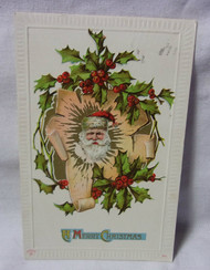 A Merry Christmas w/ Santa & Holly 1912 Antique Embossed Postcard