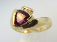 14k Yellow Gold Trillion Cut Tourmaline Ring with 3 Diamond Accent on Band. Size 6 ¾