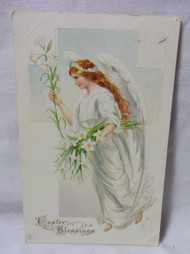Easter Blessing w/ Angel holding Lilly Embossed Antique  Postcard