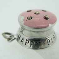 Sterling Silver Movable Happy Birthday Candle Cake Pendant Charm