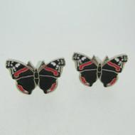 Silver Tone Red and Black Enamel Butterfly Cufflinks
