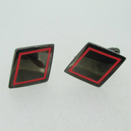 Black Rhombus Shape Red Enamel Outlined Cufflinks