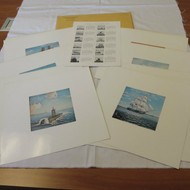 Set of 12 1956 US Naval Institute Magazine Cover Art Pictures Prints Full Color