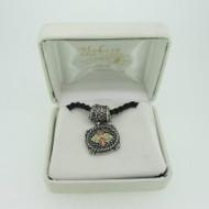 Sterling Silver & 10K Black Hills Gold Coleman Co Black Rope Necklace