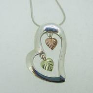 Sterling Silver & 12K Black Hills Gold Coleman Co Heart Dangle Necklace