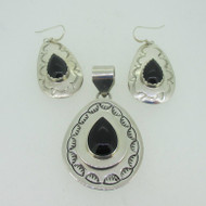 Sterling Silver Black Onyx Southwest  R. Yazzie Pendant Earring Set