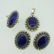Sterling Silver Southwest Blue Enamel Pendant Earring Ring Set