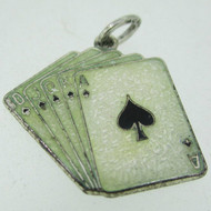 Vintage Sterling Silver and Enamel Full House of Cards Charm Pendant