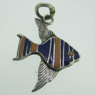 Vintage Sterling Silver and Enamel Tropical Angel Fish Charm Pendant