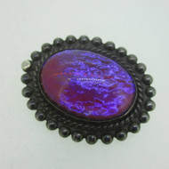 Sterling Silver Pin Brooch with Purple Orange Iridescent Stone