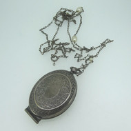 Vintage Oval German Silver Coin Change Locket Pendant on Long Chain Necklace