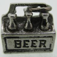 Vintage Wells Sterling Silver and Enamel 6 Pack Beer Charm