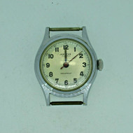 Vintage Mentor 15J Military Style Stainless Steel Watch Case Movement and Dial Parts (B6868)