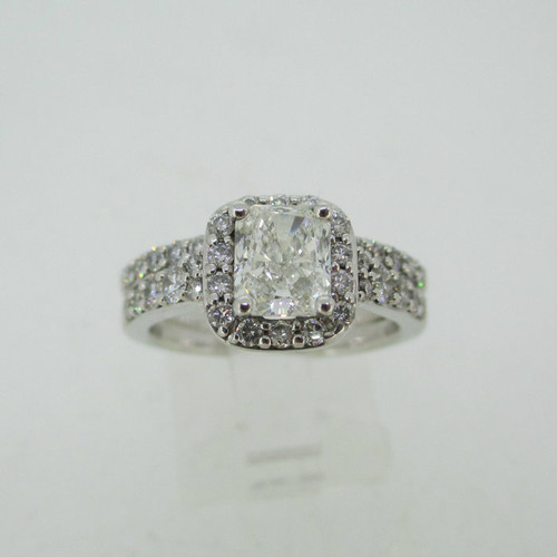 14k White Gold GIA Certified 1.02ct Rectangular Diamond Halo Ring Size 6 3/4