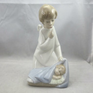 Retired Vintage Lladro Daisa Porcelain  Angel with Baby Figurine