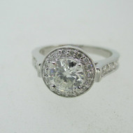 14k White Gold .84ct Round Brilliant Cut Diamond Ring with Halo Size 6 3/4