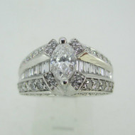 14k White Gold .70ct Marquise Cut Diamond Ring Size 7