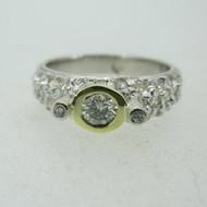 18k White Gold .25ct Round Brilliant Cut Diamond Ring Size 7 1/4