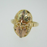 10k Black Hills Gold 2 Leaf Ring Size 6