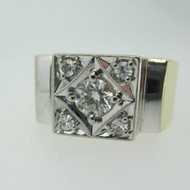 14k Yellow Gold Approx .50ct Round Brilliant Cut Diamond Men's Ring Size 9 3/4