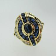 18k Yellow Gold Sapphire and Diamond Fashion Ring Size 7 1/4