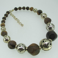 Brighton Wooden and Silver Tone Graduating Bead Necklace