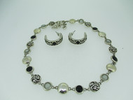 Brighton Filigree Silver Tone Black and Gray Stone Necklace Earring Set