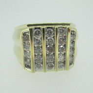 10k Yellow Gold Approx 1.0ct TW Round Brilliant Cut Diamond Men's Ring Size 10 1/4