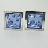 Silver Tone Thompson London Blue Rhinestone Cufflinks